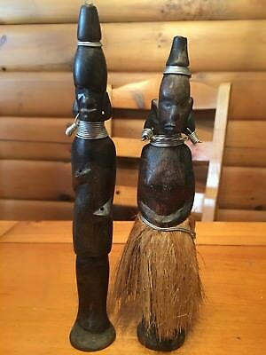 African Wooden Tribal Carved Statues Man Woman Unhappily Married? Wedding Gift?