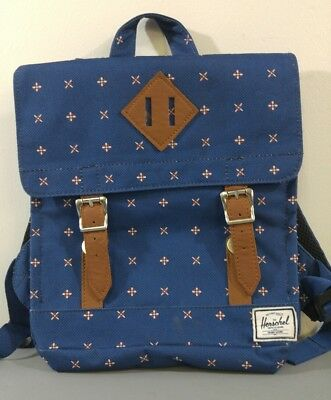 Herschel Back Pack Small Youth Size Navy Blue White Small Pattern 2 Buckles