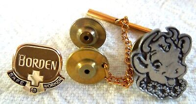 BORDEN 10K Gold *10 Year Safe Worker* PLUS Elsie Pewter Tie Tack Lapel / Hat Pin