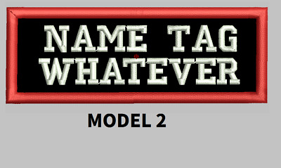 """Custom Embroidered 4"""" x 1"""" Name Patch Motorcycle Biker  Iron on/sew on two rows"""
