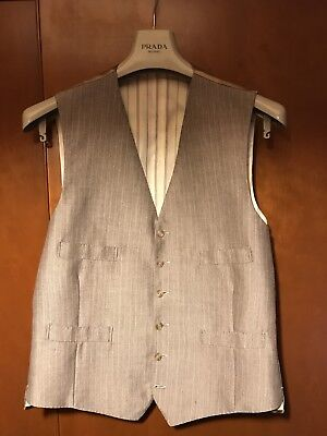 Superbly Made bespoke Vintage Waistcoat brown striped wool, tailor made