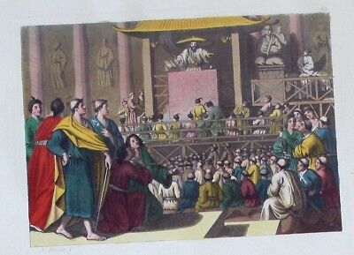 1825 - Japan Gebet prayer Original Aquatinta aquatint antique print