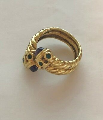 David Yurman Amethyst and Emerald Cable  Wrap Ring 14k Gold 7.5