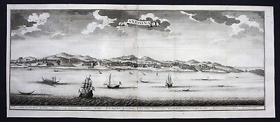 1726 Ambon city island panorama view engraving map Valentijn Indonesia Maluku