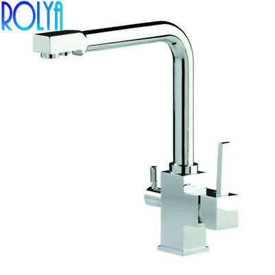 Rolya Premium Solid Brass Chrome 3 Way Water Filter Tap Tri Flow Kitchen Faucets
