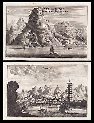 China Asia Asien Pagode pagoda Ansicht view Kupferstich antique print Nieuhof