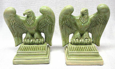 "Set of 2 Atlantic Mold Eagle Bird Green Ceramic Bookends 7"" Height"