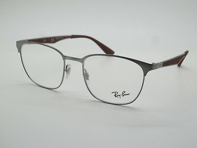 57aad27927 NEW Authentic Ray Ban RB 6356 2880 Brushed Gunmetal Burgundy 52mm RX  Eyeglasses