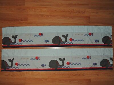 SET 2 BEDTIME ORIGINALS VALANCES WHALES FISH BLUE RED GRAY LAMBS & IVY 10.5x54""