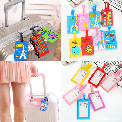 Cute Cartoon Tag Silicone Card Case Holder Luggage Suitcase Label Travel Tags