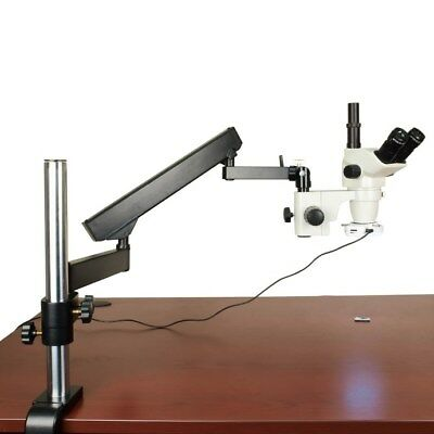 6.7X-45X Clear Stereo Trinocular Microscope+Articulating Stand+64 LED Ring Light