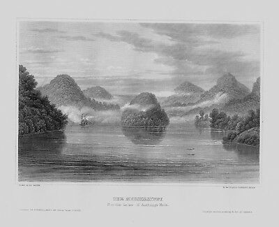 1840 - Mississippi River St. Anthony Fall Amerika America engraving Stahlstich