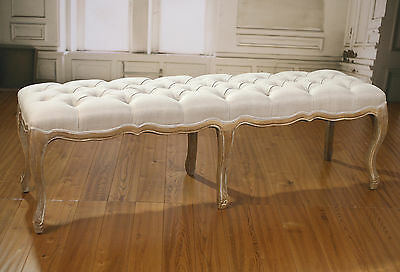 Bed End Stool Oak Ottoman French Provincial Upholstered Linen Button 160cms