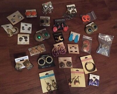 Vintage Huge Lot Of Earrings Costume Retro Awesome!