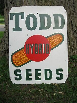 Vintage TODD Hybrid Corn Seeds Double Sided Sign
