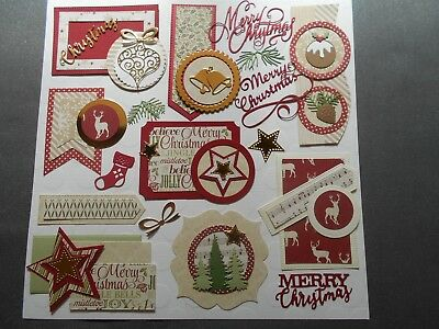 Die cuts -  Mats, Tags, 35+ pieces + Die cuts + words Christmas Card toppers
