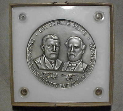 "2 1/2"" Round 999+ Fine, 1961 Silver Civil War Centennial Grant & Lee 131 Grams"