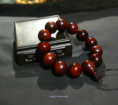 1.6cm Chinese Wood carving Red wood Handmade Wood Bracelets ornaments HAAA