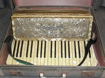 Rare Original Stunning Vintage Bling Beige Pearl Hohner - Piano Accordion