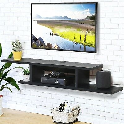 Wood Floating Wall Mount Shelves Tv Stand Media Console With 2 Tier