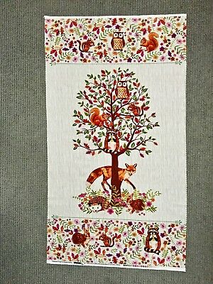 Woodland Animal Fabric Panel Fox Tree Hedgehog Enchanted Forest Baby Quilting