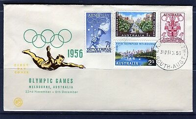 1956 Melbourne Olympics Set Of 4 WCS Unaddressed First Day Cover, Mint Condition