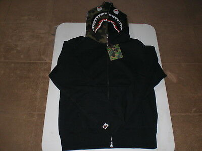 aa9221e0fbc0 Authentic A Bathing APE BAPE 1ST CAMO SHARK FULL ZIP HOODIE BLACK L NEW RARE