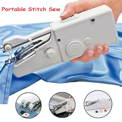 White Hand Held Sewing Machine Mini Portable Easy Home Travel Stitch Sew DIY New