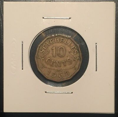 SEYCHELLES 10 Cent 1968 KM#10 Coin Low Mint Rare