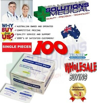100 X Povidone Iodine Skin Cleansing Wipes 10% Antiseptic Wipes Sentry Quality