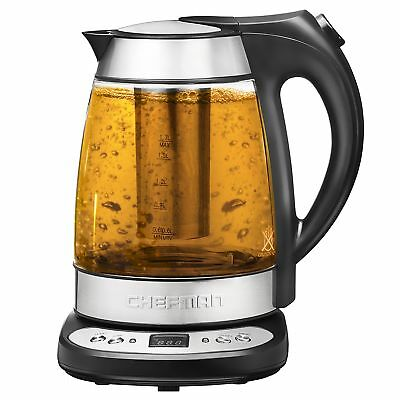 Chefman Electric Glass Digital Tea Kettle with FREE Tea Infuser, Built-In