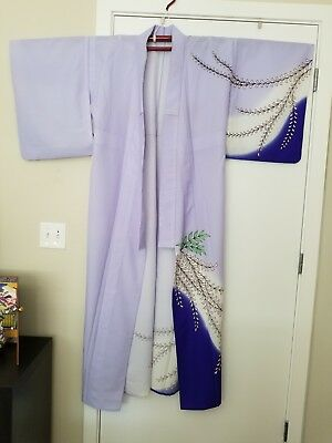 From Japan: Authentic Summer Kimono - Lavender/Dark Blue