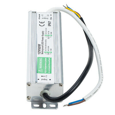 AC-DC 12V 5A Transformer Power Supply Adapter LED Driver IP67 Waterproof 60W US