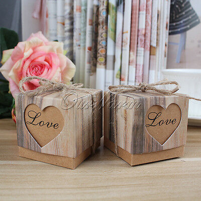 100×Imitation Bark Gift Candy Box Love Heart Wedding Party Favor Bag Bonbonniere