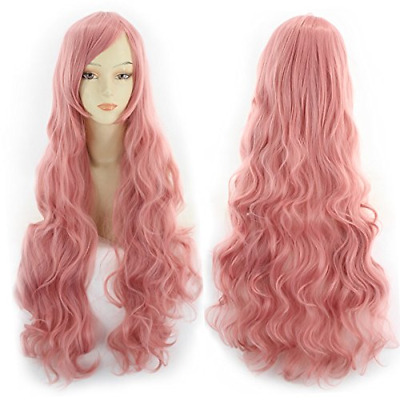 Komfami Cosplay Wigs for Women, Synthetic Hair Wig for Anime Costume (Pink)