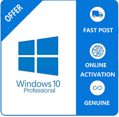 Microsoft Windows 10 Pro Professional Genuine License Key Product Code 32/ 64bit