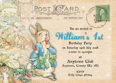 Personalised Birthday Invitations Boy Peter Rabbit Postcard Inc