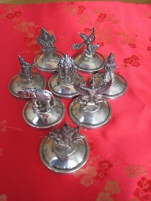 Set 8 1940 Vintage Sterling Silver Siam Hindu Figurines Place Card Holders