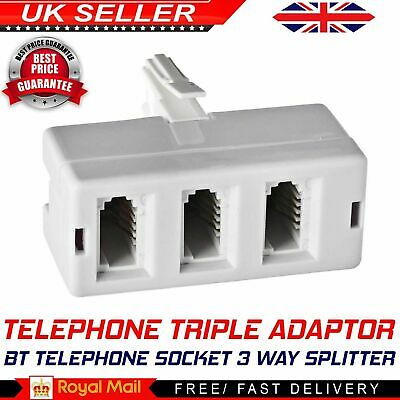 BT Telephone Socket Triple Phone Adapter 3 Way UK Land Line Converter Splitter