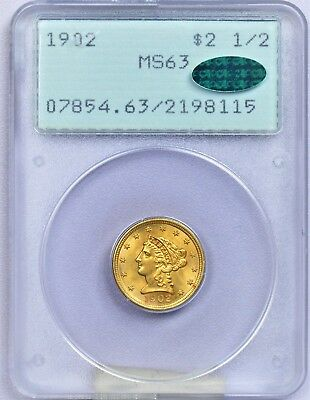 PCGS $2.50 1902 MS63 CAC  A very high lustrous Liberty Head in the old rattler