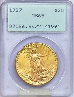 PCGS 1927 MS65 a lustrous high grade gem in the old rattler holder