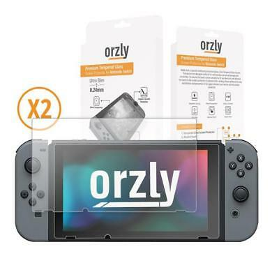 Orzly Glass Screen Protectors for Nintendo Switch - Premium Tempered Glass Scree