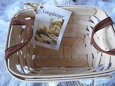 Longaberger Tea Basket Nwt All Natural Unstained/unlined Suede Handles Free Ship