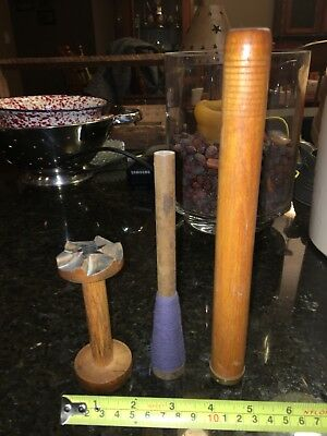 3 Industrial Textile Wooden Sewing Spools Bobbin Spindle Primitive Decor