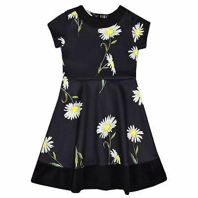 Girls Skater Dress Kids Daisy Floral Print Summer Party Dresses New Age 2-8 Yr