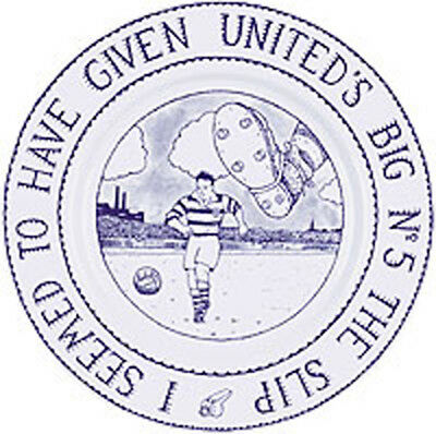 GLEN BAXTER FOOTBALL PLATE  'I SEEMED TO HAVE GIVEN UNITED'S BIG No 5 THE SLIP'