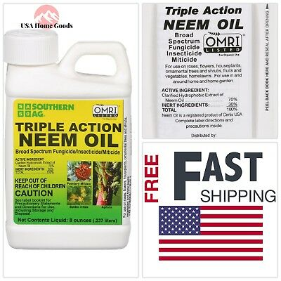 Organic 8oz Triple-Action Neem Oil Insect Killer Fungus Control Indoor Outdoor