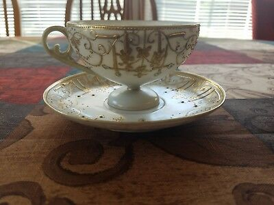 Vintage Nippon Bone China Tea Cup and Saucer, Hand Painted, Heavy Gold, Pedestal