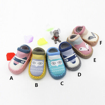 Cute Unisex Toddler Baby Girls Boy Cartoon Cotton Anti-Slip Socks Slipper Shoes