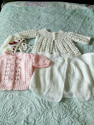 baby hand knitted clothes bundle 0-3 months